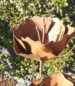 Blume mohnblume bl te rost edelrost metall garten deko ebay for Rost deko garten deutschland