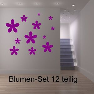 blumen set 12 stck aufkleber fenster wandtattoo bad fliesen bl ten farbe deko ebay. Black Bedroom Furniture Sets. Home Design Ideas