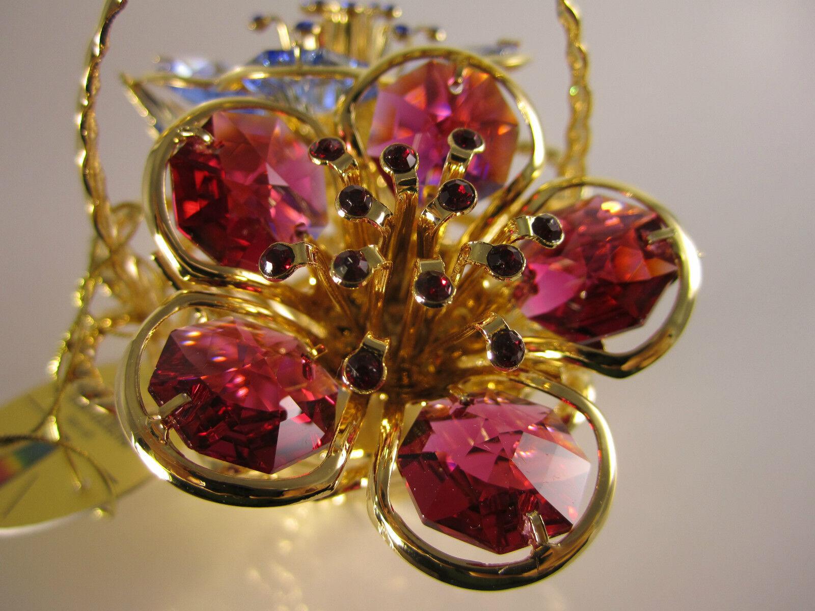 Blumenkorb mit Swarowski Kristallen Bestückt Gold