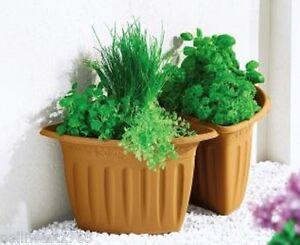 blumenk bel pflanzk bel pflanztopf halbrund 2 tlg terracotta kunststoff ebay. Black Bedroom Furniture Sets. Home Design Ideas