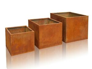 blumenk bel aus cortenstahl pflanzk bel pflanztopf blumentopf pflanztrog. Black Bedroom Furniture Sets. Home Design Ideas