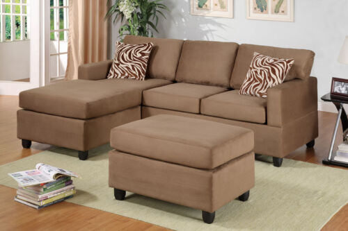 Bobkona Living Room Furniture Sectional Sectionals Sofa Free Ottoman 6 Colors in Home & Garden, Furniture, Sofas, Loveseats & Chaises | eBay