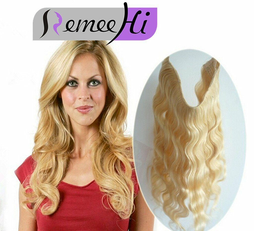 Secret Wire Hair Extensions Invisible Wire Band Remy Hair Wavy Hair