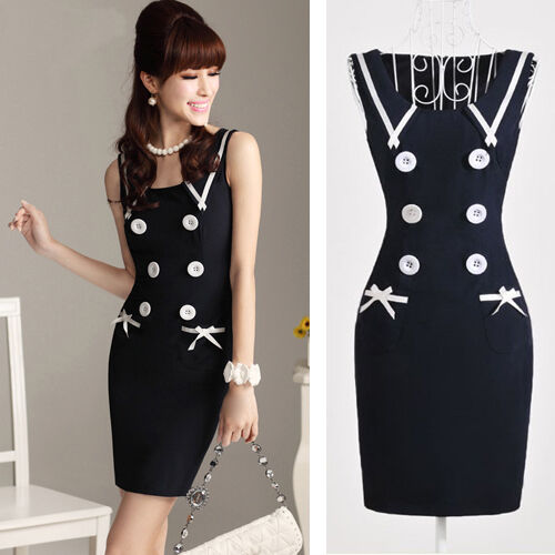 Boho style Women Navy blue Sleeveless Dress 50S sexy Party Dress Dresses