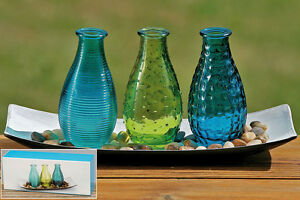 Boltze vasen 3er set mit tablett und dekoration blau gr n petrol maritim neu ebay - Dekoration petrol ...