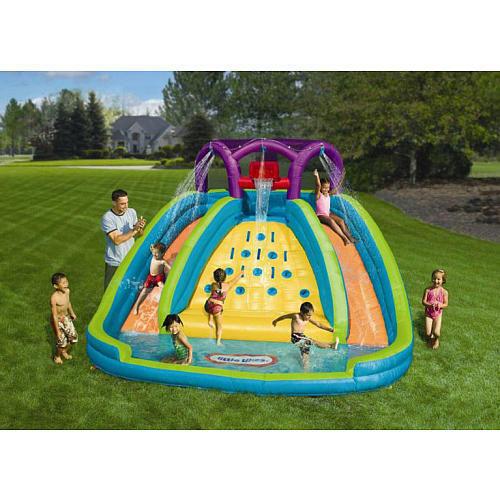 Best Backyard Pool For Toddlers : Inflatable Kids Backyard Double Water Slide Spraying Splash Pool