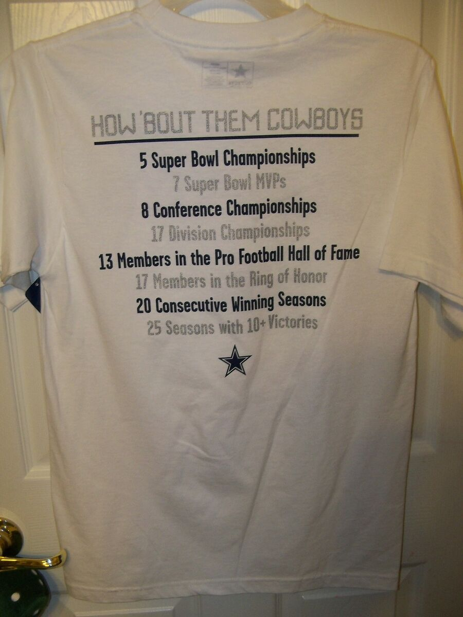 e68cbc159 How Bout Them Dallas Cowboys Fact 2 Sided Shirt White Mens Small NWT ...