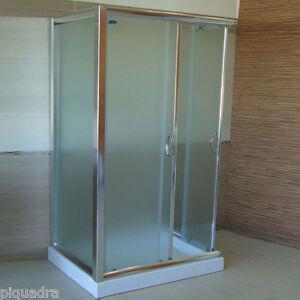 Box doccia cabina scorrevole bagno 3 lati in vetro cristallo 6mm opaco 70x90x70 ebay - Vetro doccia scorrevole ...