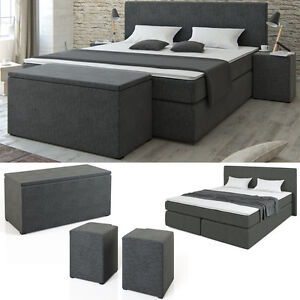 boxspringbett bett hotelbett ehebett doppelbett grau 140x200 und 180x200 ebay. Black Bedroom Furniture Sets. Home Design Ideas