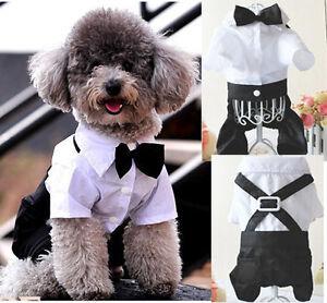 Boy-Set-Prince-Tuxedo-T-shirt-Dog-Cat-Pet-Clothes-Jumpsuit-Outfit-Bow