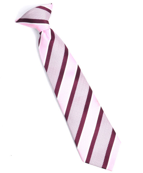 Boy/'s Youth Pink Striped Clip On Tie MPCB2000PK
