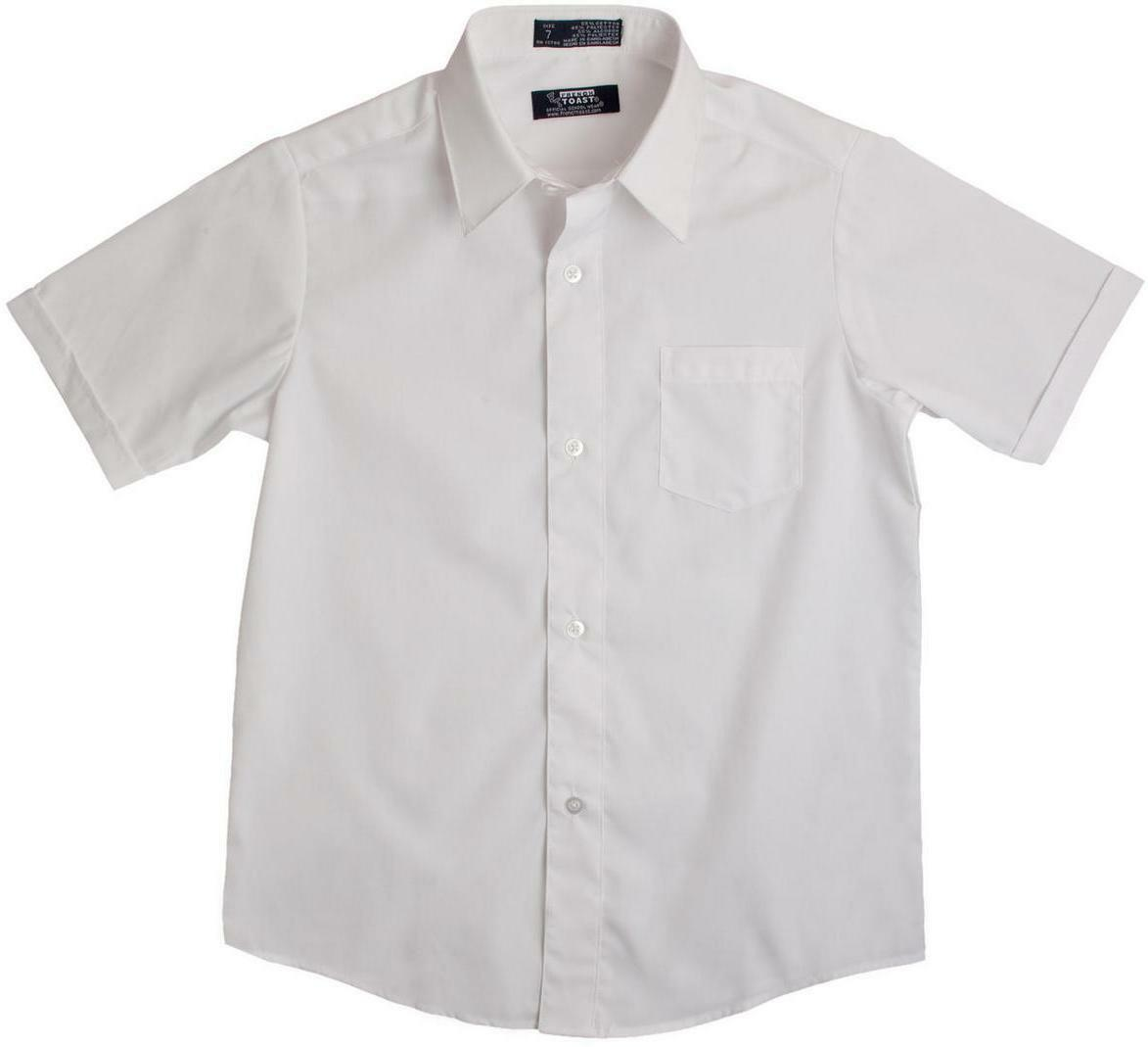 Boys new french toast white broadcloth button down short for Button down uniform shirts