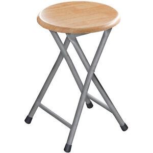 brand new round silver frame folding stool seat chair wood veneer