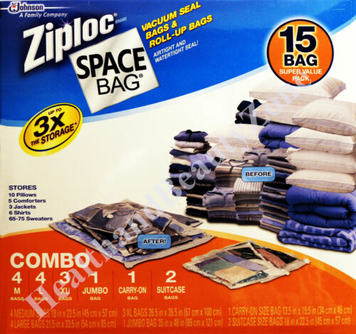 Brand New 15 SPACE BAGS Vacuum Seal Ziploc Multi Sizes Storage Bags Travel in Home & Garden, Housekeeping & Organization, Home Organization | eBay
