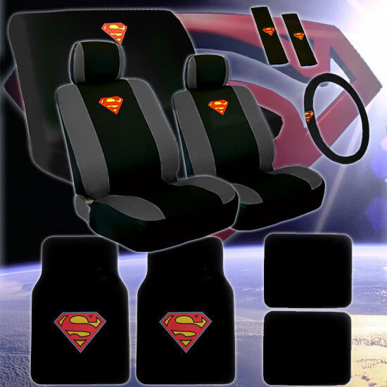 Brand New Complete Superman Car Seat Covers Wheel Cover And Floor Mats Set