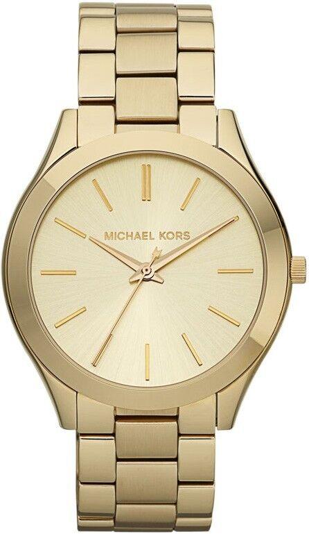 Brand New Michael Kors Slim Runway MK3179 Gold Tone Watch