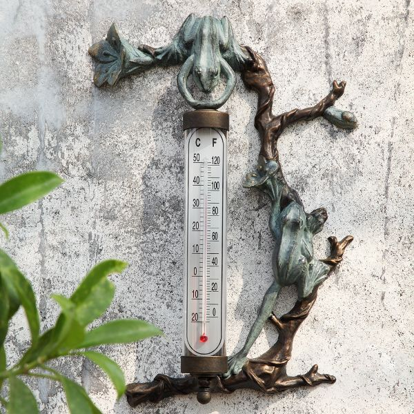 Frog Thermometer Wall Mounted Outdoor Garden Verdi Bronze
