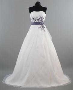 Brautkleid-Hochzeitskleid-58-Weiss-Lila-Gr-34-bis-54