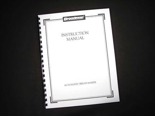 Breadman Bread Maker Machine Instruction Manual Recipes