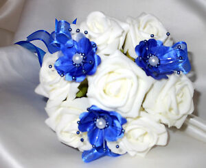 Bridal Flowers Flowergirl Posy Wedding Bouquet Ivory Royal Blue