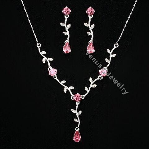 Bridal Wedding Pink Crystal Necklace Earrings set 8274