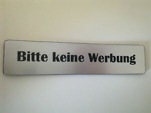 briefkasten schild bitte keine werbung ebay. Black Bedroom Furniture Sets. Home Design Ideas