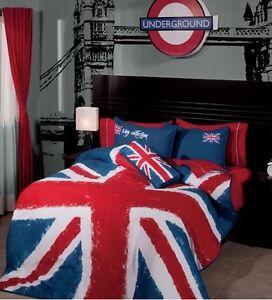 british flag union jack full size reversible comforter set ebay. Black Bedroom Furniture Sets. Home Design Ideas