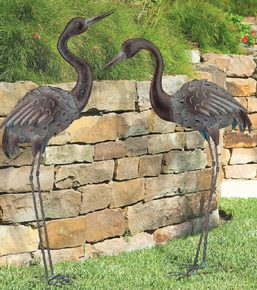 Bronze Crane Pair Metal Garden Statues Mystical Bird Yard Art