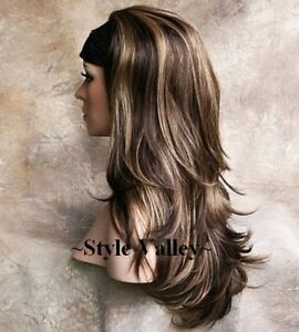 Details about Brown Mix with Blonde Highlights 3/4 Wig Fall Hair Piece ...