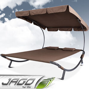 Brown-Outdoor-Garden-Lounger-Patio-Furniture-Sun-Day-Bed-Hammock-Shade-Canopy