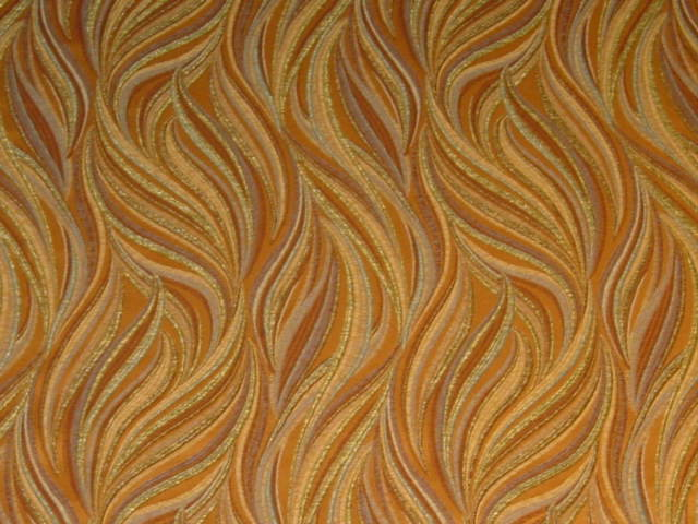Brown Tan Blue Gold Modern Retro Upholstery Fabric Bty