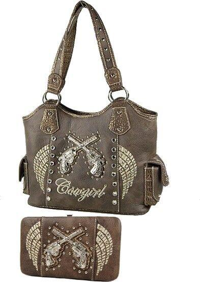 Brown Western Cowgirl Rhinestone Pistol Gun Angel Wings Handbag Flat