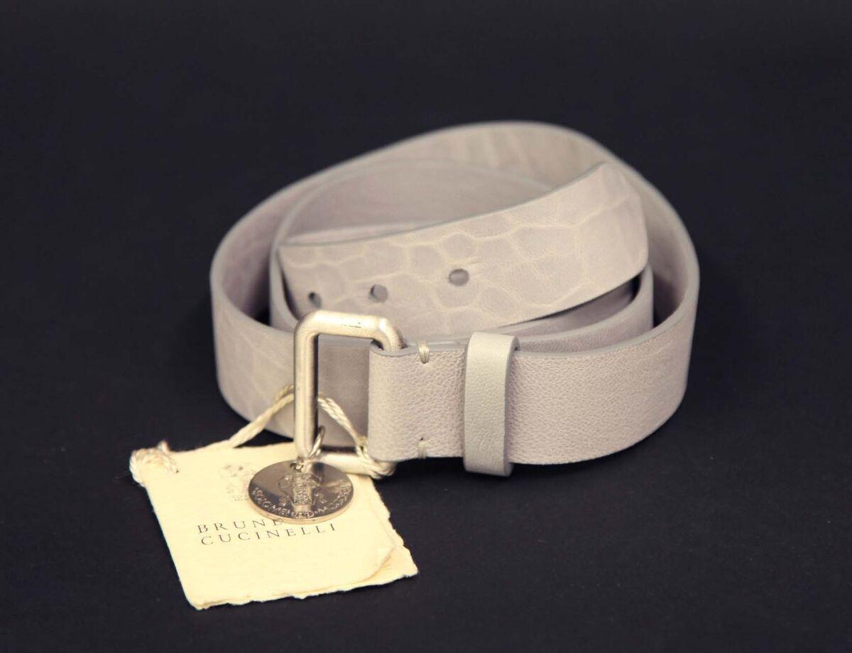 Brunello Cucinelli belt leather Gurtel Leder gray Made in ITALY size M