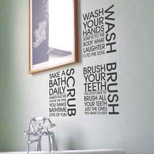 Brush wash scrub bathroom shower toilet art quote wall - Stickers muraux salle de bain ...