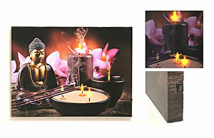 buddha 3 led licht bild wandbild 3 kerze feng shui asia. Black Bedroom Furniture Sets. Home Design Ideas
