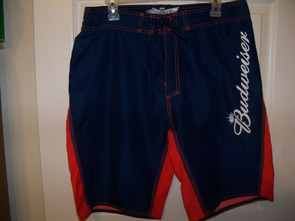 7796910d28 Bud Beer Blue Orange Board Swim Trunks Shorts Mens Size 36 NWT on ...