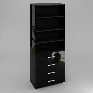 b cherregal b ro regal schrank mit schubladen in schwarz hochglanz oder matt ebay. Black Bedroom Furniture Sets. Home Design Ideas