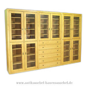 b cherschrank bibliothek aufbauwand schrankwand massivholz. Black Bedroom Furniture Sets. Home Design Ideas