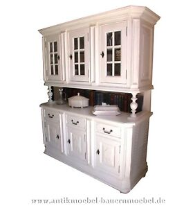 buffetschrank k chen schrank weichholz landhaus massiv weiss gr nderzeit ebay. Black Bedroom Furniture Sets. Home Design Ideas