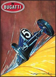 Vintage Auto Racing Posters on Bugatti 5 Vintage Auto Racing Poster Art Print   Ebay