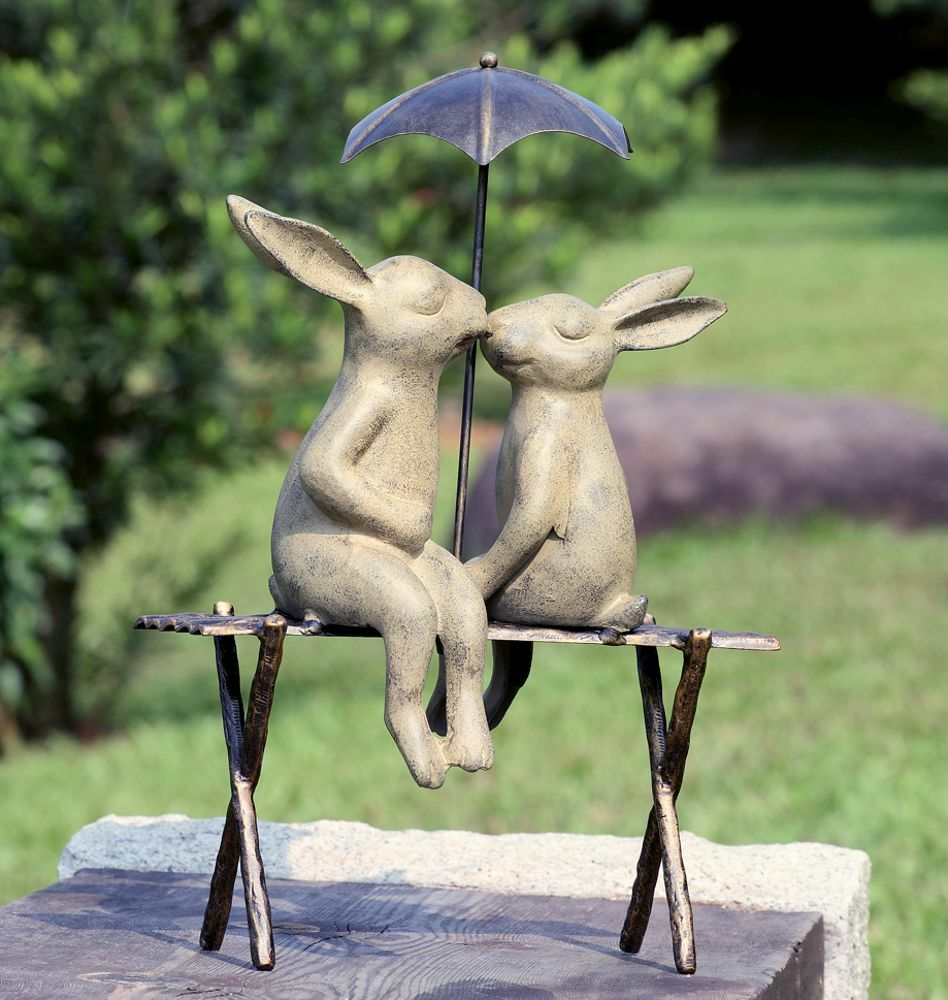 Bunny Lovers Garden Sculpture Rabbits On Bench Under Umbrella Statue 19 Quot H Ebay