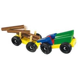 bunter traktor mit anh nger holz l 29 cm neu ovp ebay. Black Bedroom Furniture Sets. Home Design Ideas