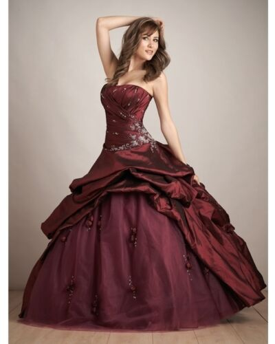 Burgundy Quinceanera Dress prom Dress Stock size 6-16 Free shipping in Clothing, Shoes & Accessories, Wedding & Formal Occasion, Wedding Dresses | eBay