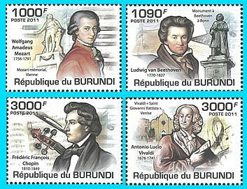 Burundi 2011 Stamp, BUR11312A Composers, Famous People, Frederic Francois Chopin in Stamps, Africa, Other | eBay