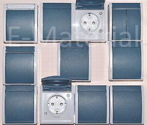 busch jaeger aufputz feuchtraum schalter steckdosen ocean grau blaugr n ebay. Black Bedroom Furniture Sets. Home Design Ideas