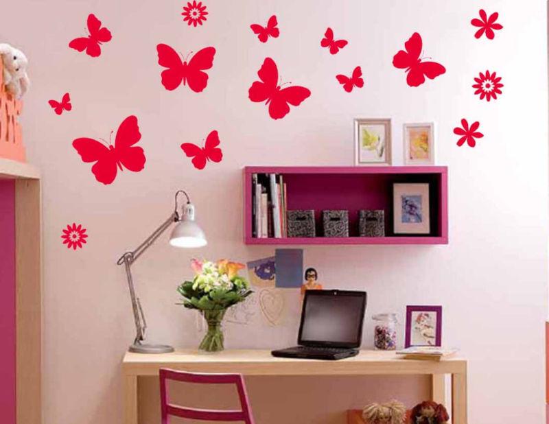 Butterfly And Flowers Kid Room Nursery Vinyl Wall Decal