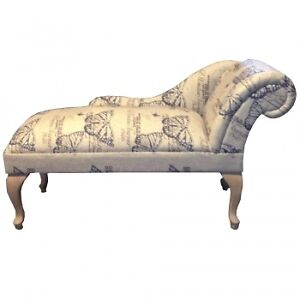 Butterfly linen script fabric mini chaise longue shabby for Chaise longue sale uk