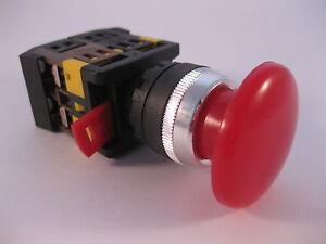 Buzzer-Taster-nicht-rastend-Drucktaster-Grobhandtaster-Not-Aus-Schalter-230Volt