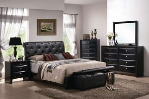 By Cast Leather Contemporary Bedroom Set, Queen, Tufted, Platform.