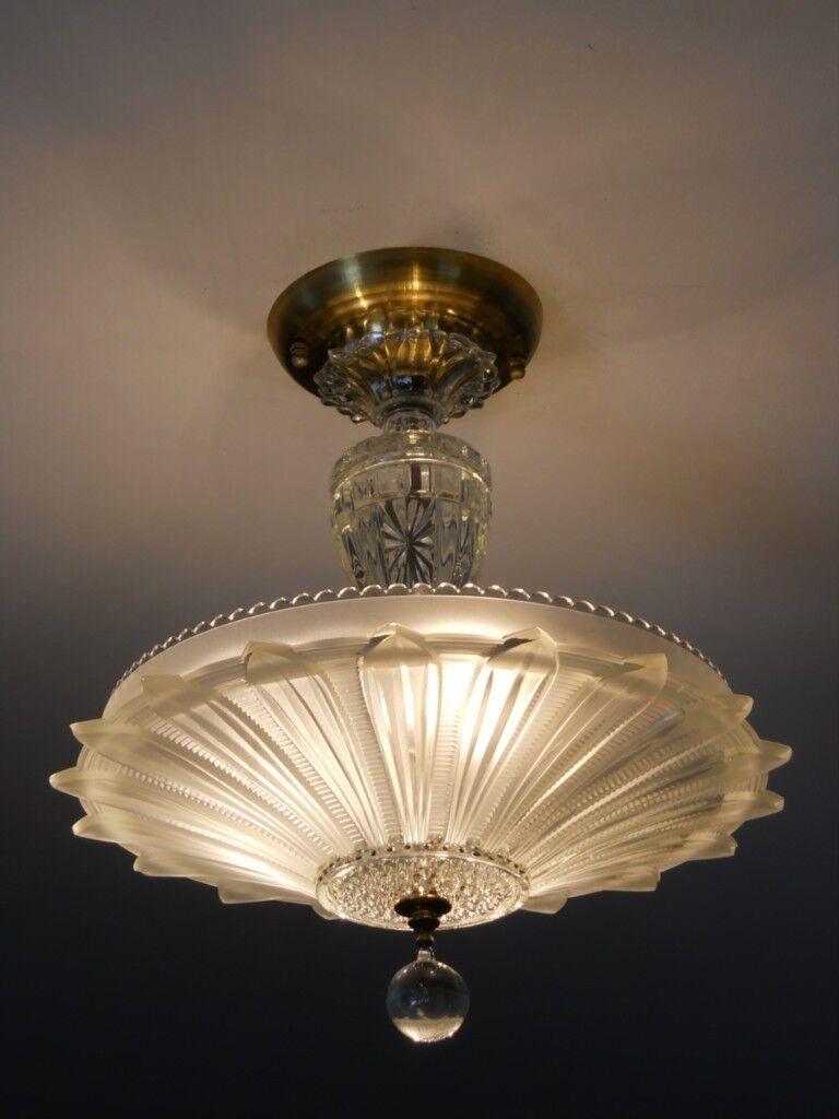 Vintage 30 39 S Art Deco Glass Ceiling Light Fixture